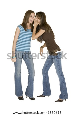 Model Release 315 Two woman telling secrets - stock photo