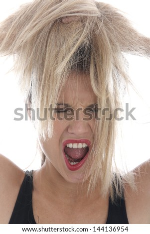 Model Released. Angry Young Woman - stock photo
