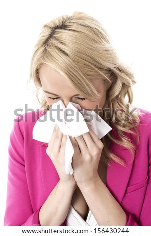 Model Released. Attractive Young Business Woman Sneezing