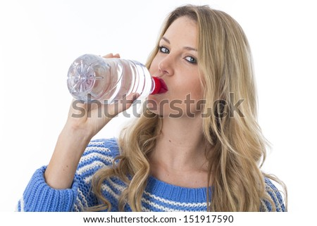Model Released. Attractive Young Woman Drinking Water