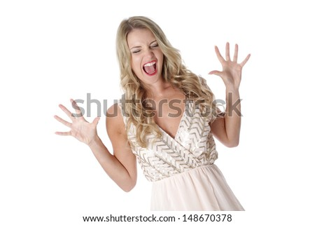 Model Released. Frightened Young Woman Wearing Sheer Flimsy Dress