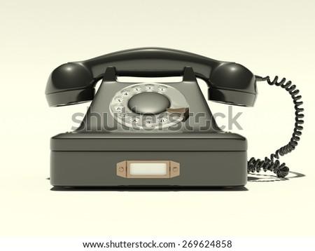 Model retro phone for a bright - stock photo