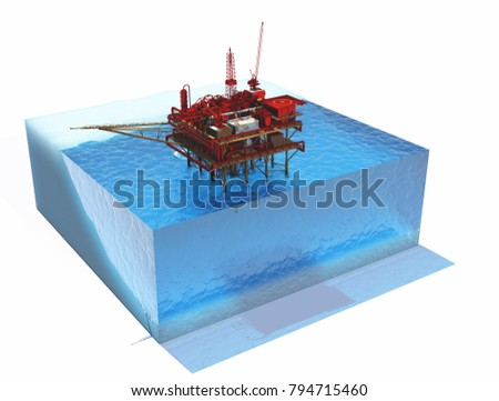 Model sea and oil., 3d render