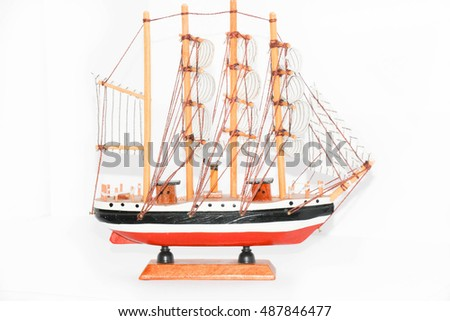 Model ship isolated on white background