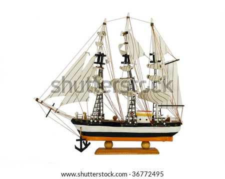 Model small sailing vessel with three masts