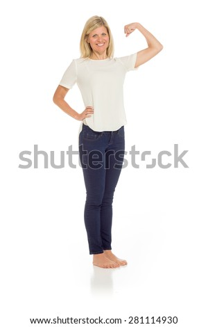 Model strength arm curl - stock photo