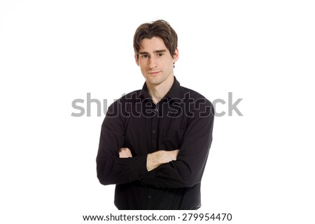 Model successful with arms crossed confident - stock photo