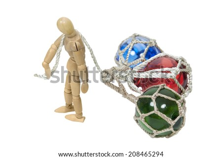 Model walking with head down with several glass floats behind him - path included - stock photo