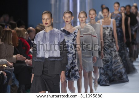Model walks the runway for Carolina Herrera Fall Winter 2015 Collection Fashion Show during Mercedes Benz Fashion Week at the Lincoln Center in New York on February 26, 2015 - stock photo
