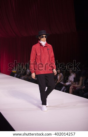Model walks the runway for Control Sector Fall Winter Collection 2016 during Style Fashion Week at The Gotham Hall in New York City on February 14th, 2016