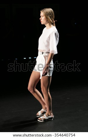 Model walks the runway for Jarret Concept Korea Spring/Summer Fashion Show 2016 during New York Fashion Week at Skylight at Moynihan Station on September 14, 2015 in New York City.
