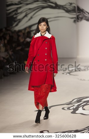 Model walks the runway for the Lie Sangbong Fall Winter 2015 collection during Mercedes-Benz Fashion Week in at the Lincoln  Cnter in New York on February 16, 2015 - stock photo