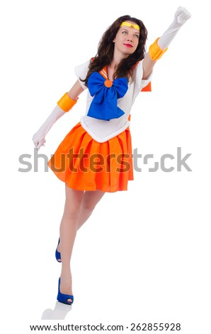 Model wearing sailor moon suit isolated on white - stock photo