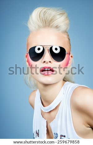 Model wearing sunglasses.  - stock photo