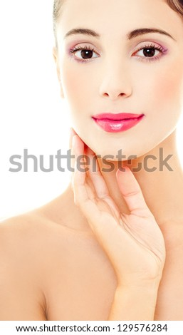 model with a professional makeup - stock photo
