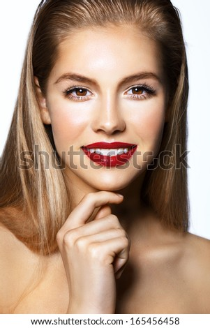 model with big red lips, smile, white teeth - stock photo