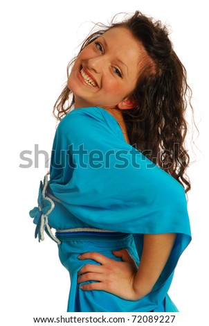 Model with blue dress 006