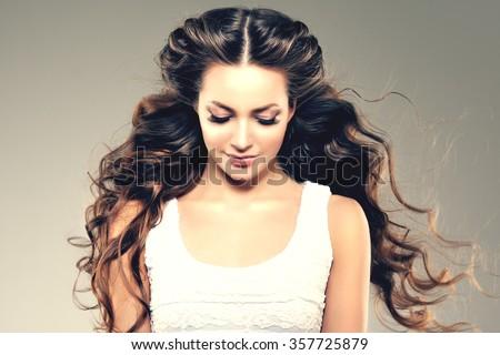 Model Long Hair Waves Curls Hairstyle Stock Photo - Haircut girl model