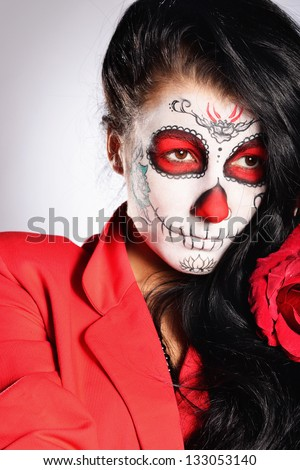 Model with mexiican face-art
