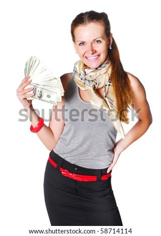 model with money - stock photo