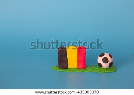 Modeling clay of Belgium Flag with football , National Football Team,Euro 2016 - stock photo