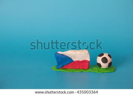 Modeling clay of Czech Republic Flag with football , National Football Team,Euro 2016 - stock photo