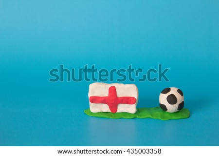 Modeling clay of England Flag with football , National Football Team,Euro 2016 - stock photo