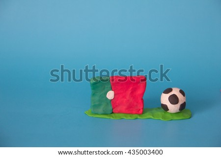 Modeling clay of Portugal Flag with football , National Football Team,Euro 2016 - stock photo