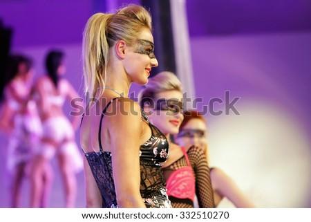 Models with make-up showing off underwear. Fashion show underwear 2012 1st November 2012, PRAGUE. - stock photo