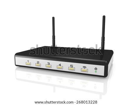 modem router wireless - 3d render - stock photo