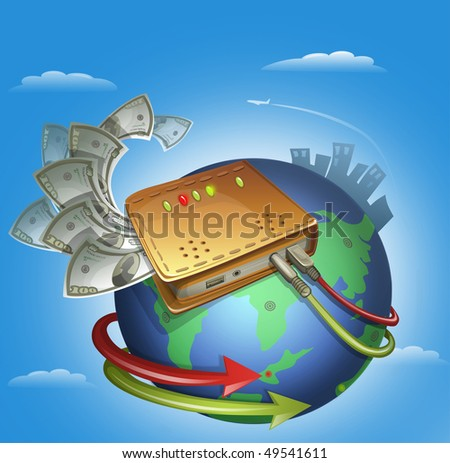 Modem with Wires Around The Globe And Banknotes - stock photo
