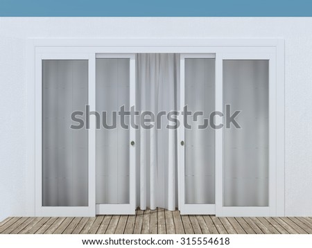 Moder glass entrance door. House exterior.