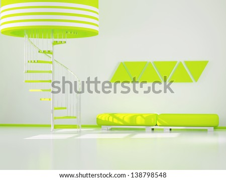 Moder interior design, room with stairs, 3d render - stock photo