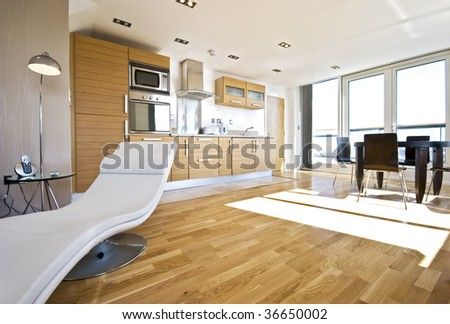 moder open plan living room with access to terrace - stock photo