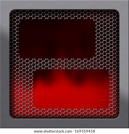 Moder oven concept. Highlighted frame texture and red or fire background covered by fine handled fender and holed or perforated grid. Empty surface, shadowed gray empty space for text, photo or image