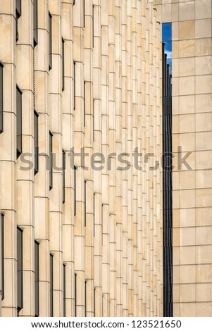 Modern abstract architecture building facade with reflection - stock photo
