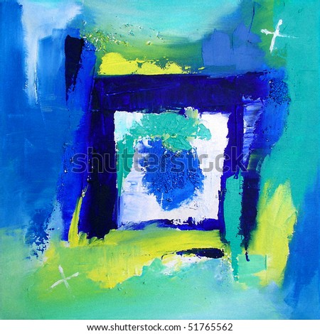 Modern Abstract Art - Background - Original Contemporary Painting - Blue / Green - stock photo