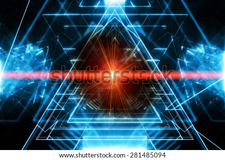 Modern abstract background with red laser ray - stock photo