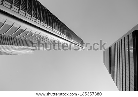 Modern Abstract business center in black and white - stock photo