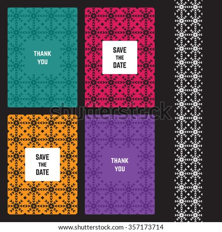 Modern abstract card templates for design wedding cards, party invitations, birthday, Valentines day, cover with tribal, navajo, ethnic, geometric patterns and elements - stock photo