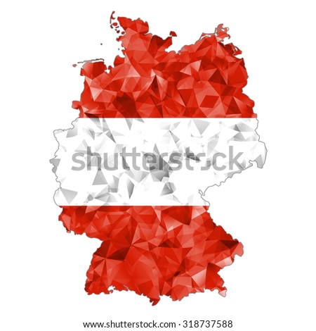 Modern abstract crystal map Germany  in Austria flag colors. Austrians in the Germany   - stock photo
