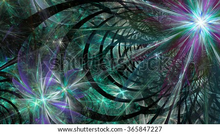 Modern abstract flower and star-like space wallpaper/background with a detailed decorative pattern made out of arches, all in glowing cyan,pink