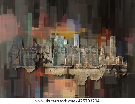 Modern Abstract, Manhattan  3D Rendered