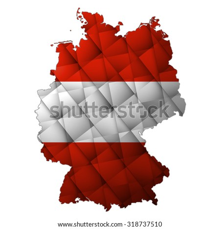 Modern abstract map Germany  in Austria flag colors. Austrians in the Germany   - stock photo
