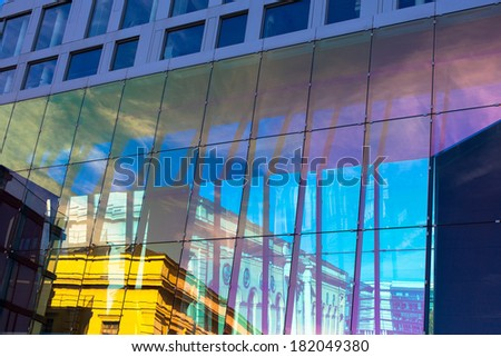 Modern abstract wall with reflections vertical view