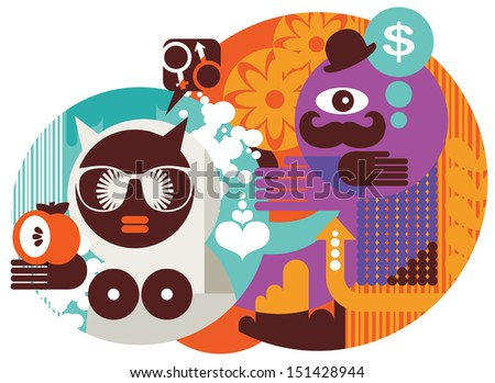 Modern Adam and Eve. Abstract vector illustration. - stock photo