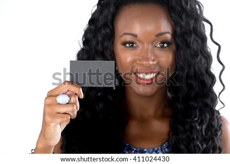 modern african business woman isolated on white background - stock photo