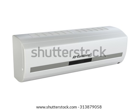 Modern air conditioner internal block isolated on white background 3d image - stock photo
