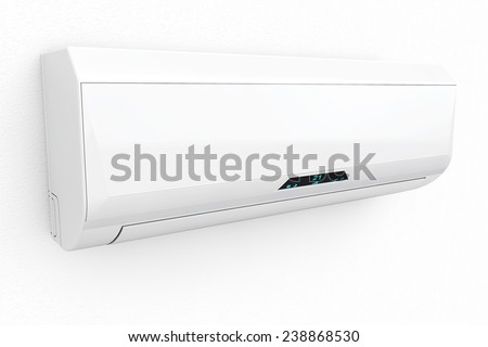 Modern air conditioner on a white background - stock photo