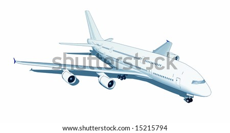 Modern aircraft illustration - isolated on white background - stock photo